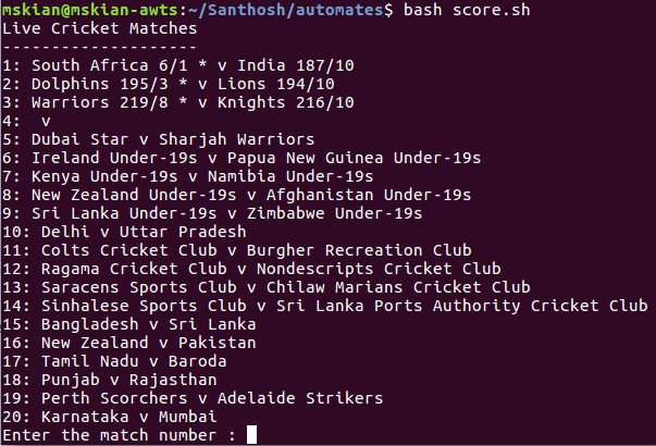 Live Cricket Score From Shell script