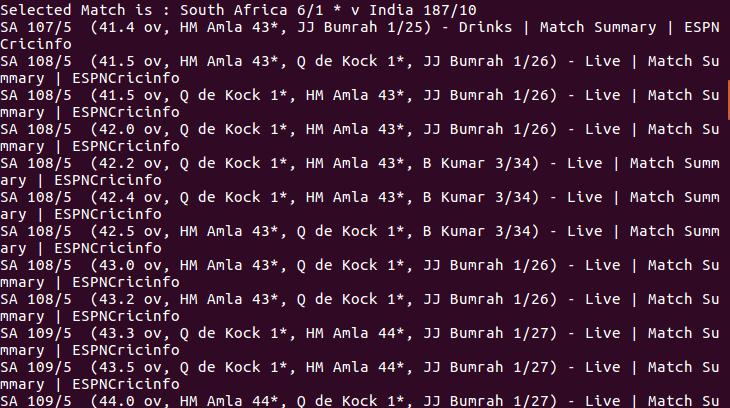 Live Cricket Score From Shell script